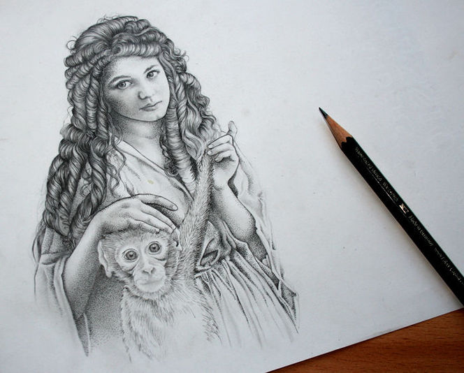 Affe, Bleistiftzeichnung, Tuschmalerei, Menschen, Habgier, Illustrationen