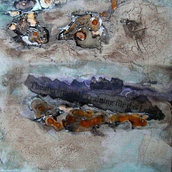 Ölmalerei, Schellack, Abstrakt, Malkarton, Marmormehl, Wachs