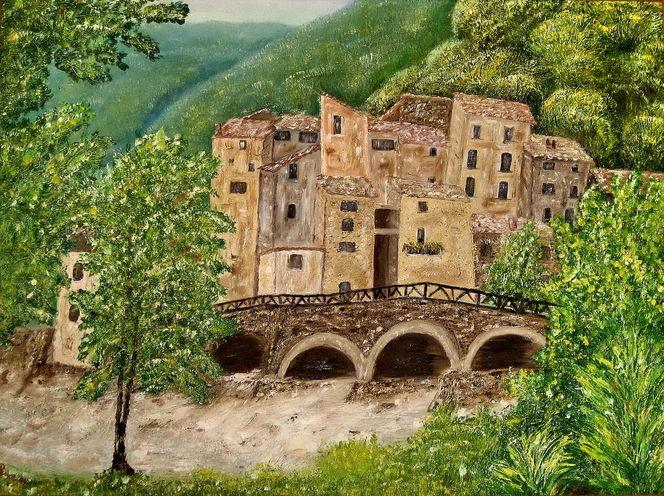 Spachteltechnik, Landschaft, Ölmalerei, Malerei, Tal, Brücke