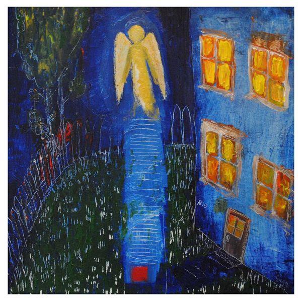 Engel, Religion, Wiese, Haus, Fenster, Nacht