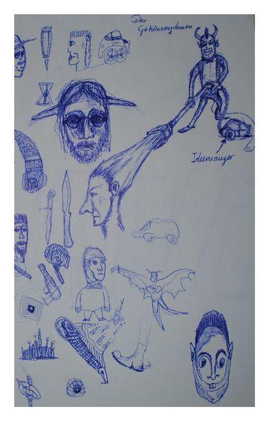 Denken, Gedanken, Dämon, Staubsauger, Gehirn, Zeichnungen