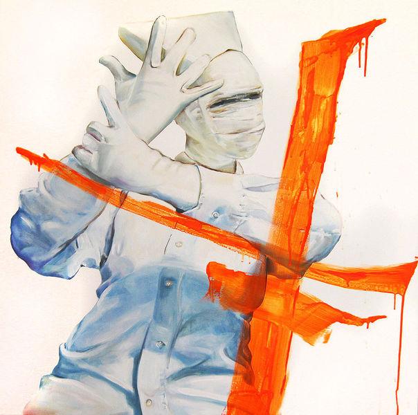 Handschuhe, Frau, Weiß, Orange, Person, Maske