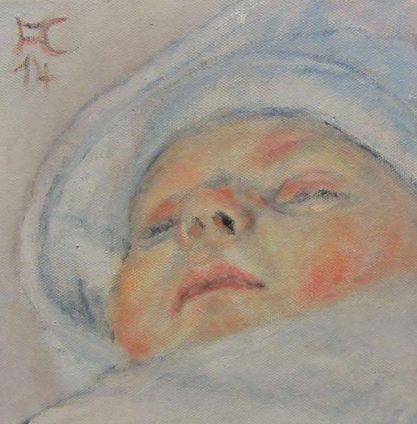 Portrait, Baby, Jung, Hoffnung, Malerei, Schlaf