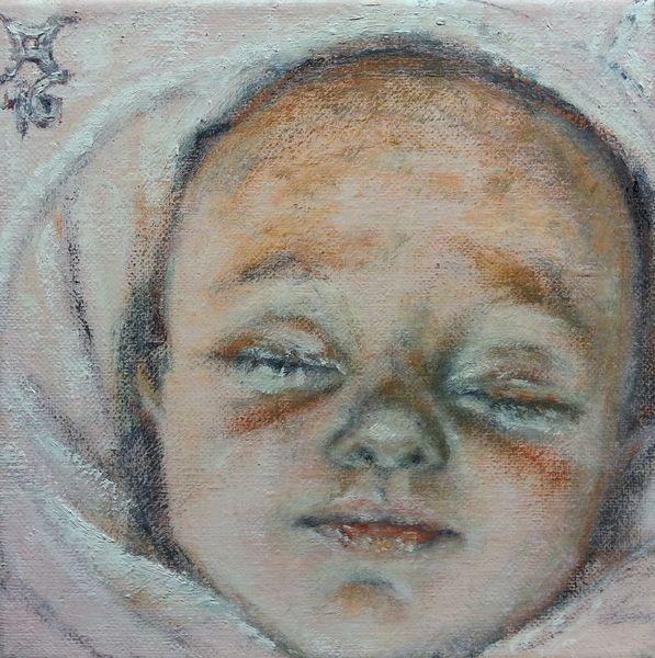 Baby, Lächelnd, Schlaf, Malerei