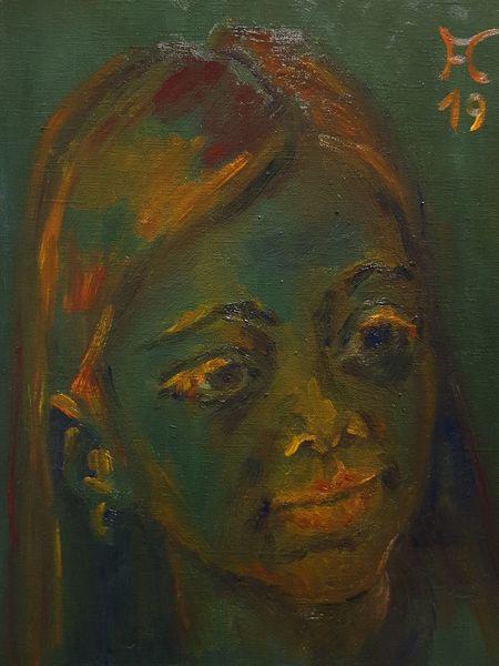 Orange, Grün, Mädchen, Malerei