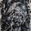 Selbstportrait, Palettenmesser, Schwarz, Weiß