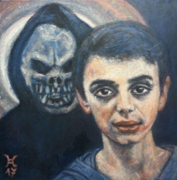 Tod, Mond, Spiel, Junge, Maske, Malerei