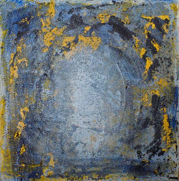 Licht, Tunnel, Gold, Blau, Malerei, Ende