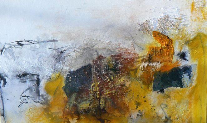 Abstrakt, Bildgestaltung, Akademie wildkogel, Gelb, Mischtechnik, Weiß