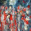 Versammlung, Temperamalerei, Blau, Mischtechnik