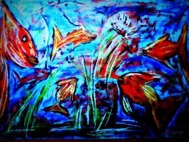 Wasser, Bunt, Ohne pinsel, Blau, Fische, Treiben