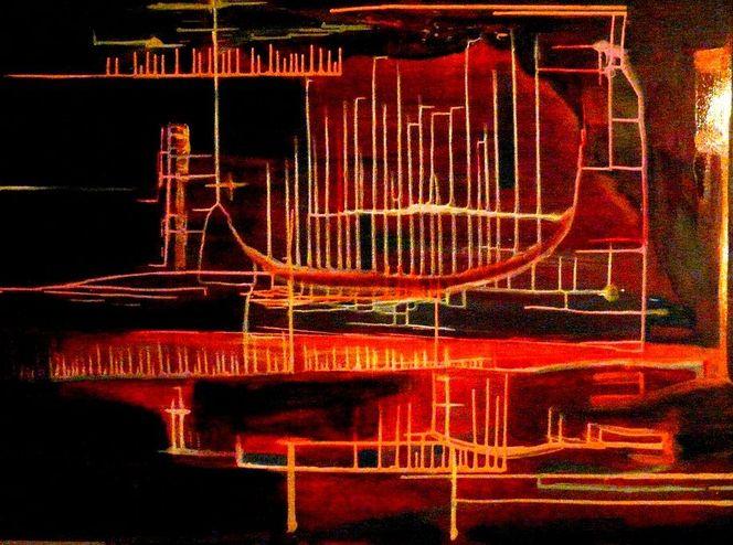 Schön, Abstrakt, Acrylmalerei, Rot, Strich, Ölmalerei