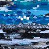 Blau, Silber, Malerei, Acrylmalerei