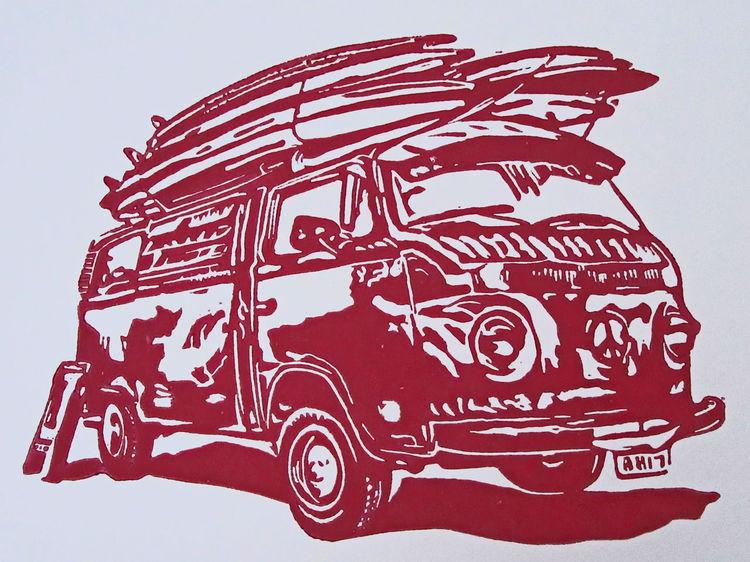 Lino0l cut, Hochdruck, Linolschnitt, Surfen, Sommer, Blockprint