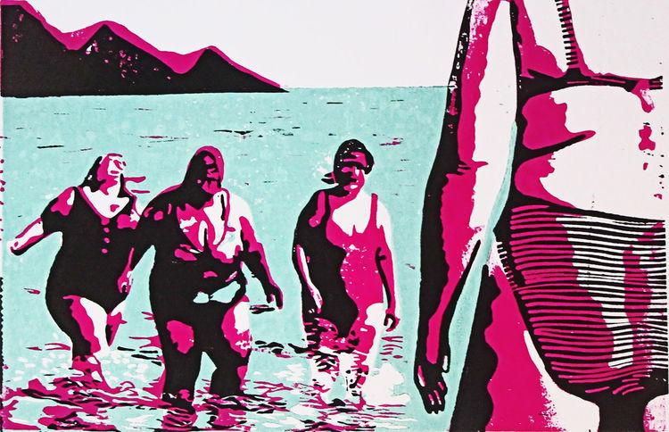 Playa, Pop art, Strand, Linoldruck, Blockprint, Hochdruck