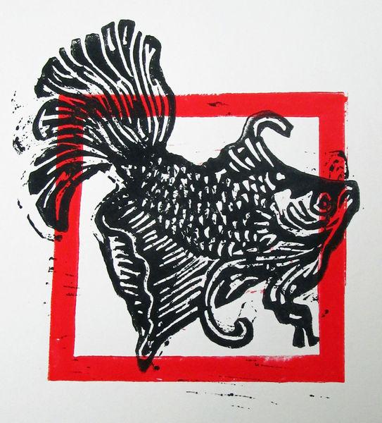 Linolschnitt, Druckgrafik, Linoldruck, Hochdruck, Fisch, Linolcut