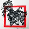 Fisch, Linolcut, Linolschnitt, Druckgrafik