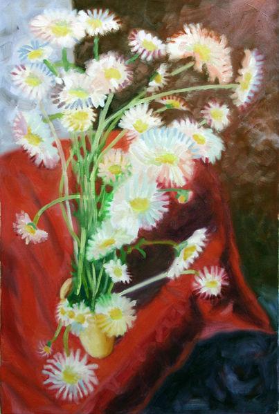 Vase, Kamille, Blumen, Malerei