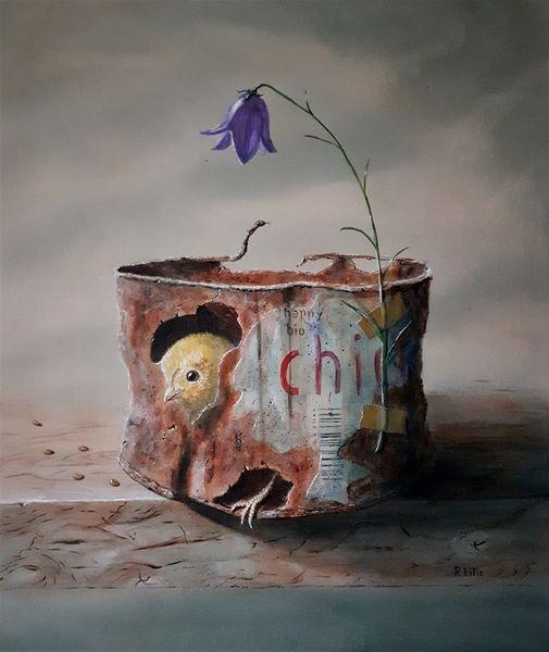 Öko, Küken, Glockenblume, Alte blechdose, Malerei