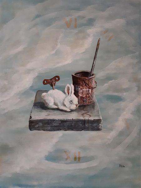 Dose, Paradox, Kaninchen, Schlüssel, Steinplatte, Wolken