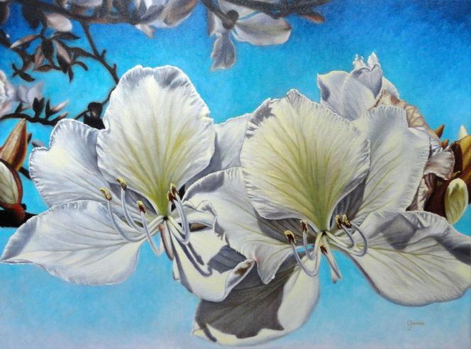Magnolien, Blumen, Ölmalerei, Malerei, Pflanzen