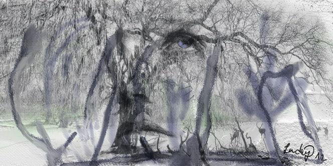 Alt, Baum, Gesicht, Malerei