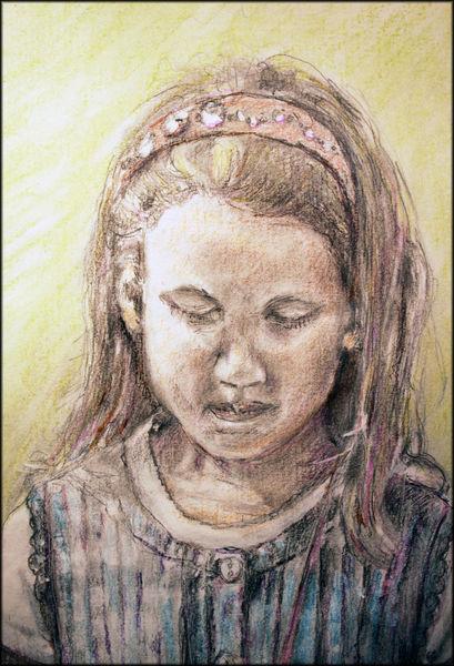 Zeichnung, Ausschnitt, Portrait, Mädchen, Pigmente, Mischtechnik