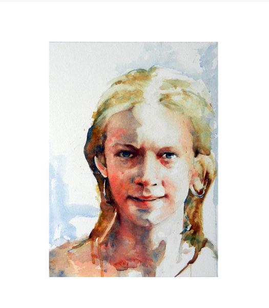 Aquarell, Junge, Frau, Portrait