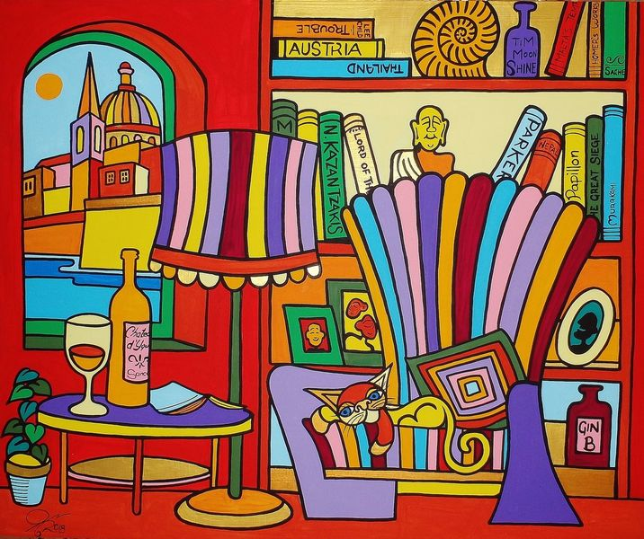 Malta, Katze, Haus, Valletta, Malerei