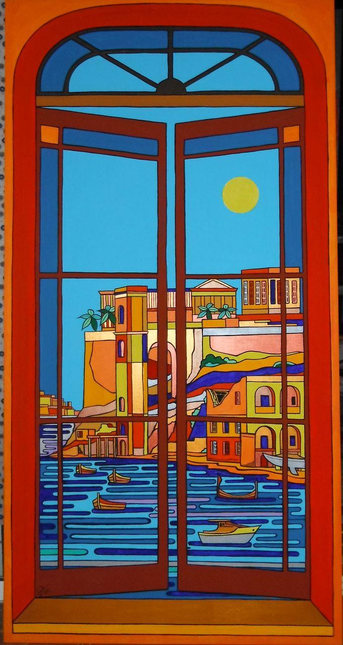 window over kalkara fenster sonne malta kalkara von clemens hasengschwandtner bei kunstnet. Black Bedroom Furniture Sets. Home Design Ideas