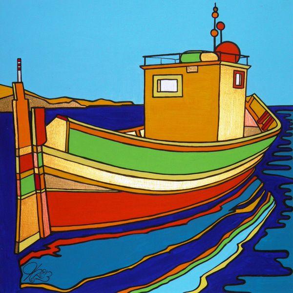 Malta, Boot, Luzzu, Malerei