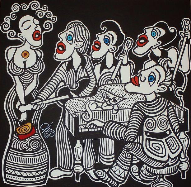 Sänger, Schwarz, Weiß, Malta, Malerei