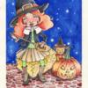 Hexe, Nacht, Kürbisse, Halloween