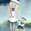 Mutter und kind, Regentag, Illustration, Digitale kunst