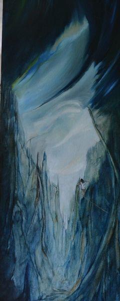 Ölmalerei, Mädchen, Traumwelt, Landschaft, Lichtkugel, Fantasie