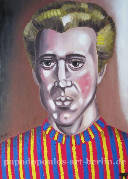 Ölmalerei, Portrait, Blond, Mann, Pulover, Malerei