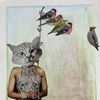 Vogel, Katze, Collage, Frau