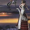 Treppe, Ballon, Fotomontage, Mann