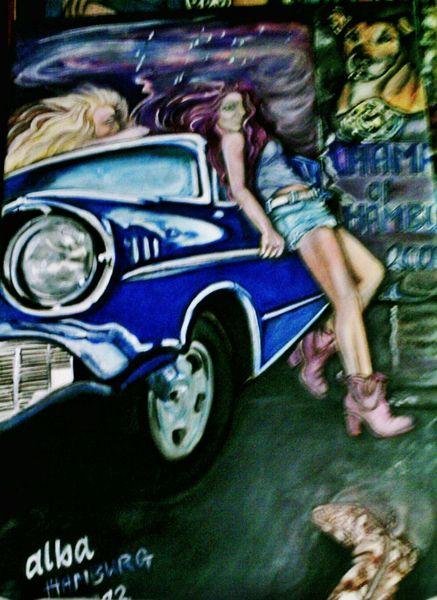 Frau, Cheverolet, Auto, Sturm, Bel, Plakat mit critter