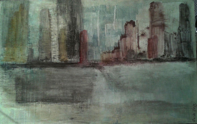 Verlaufende farben, Pigmente, Wasser, Übereinander, Acryl auf leinwand, Malerei