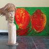 Skulptur, Roter jokey, Holz skulptur, Plastik