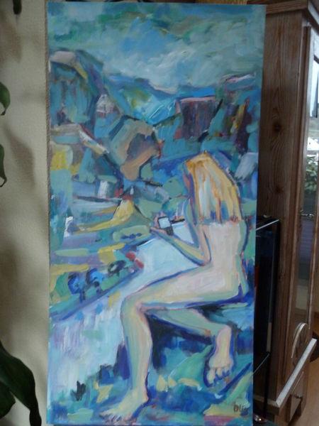 Wasser, Frau, Sicht, Malerei