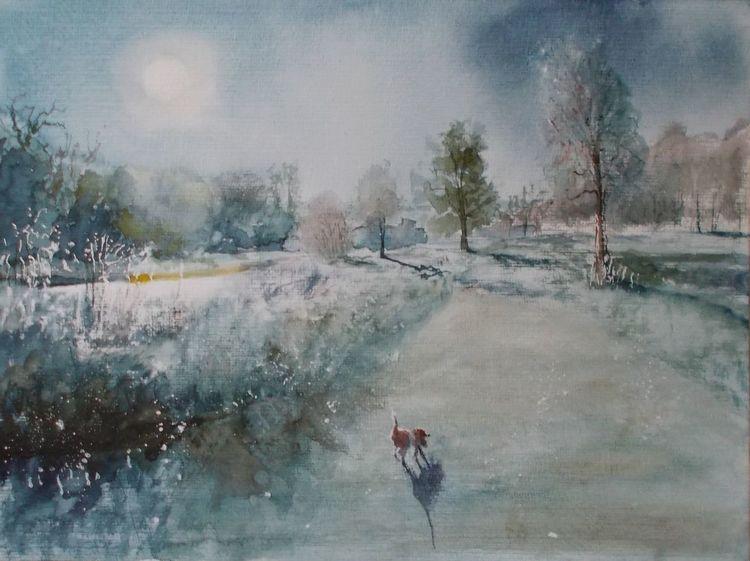 Landschaft, Baum, Hund, Weg, Fluss, Natur