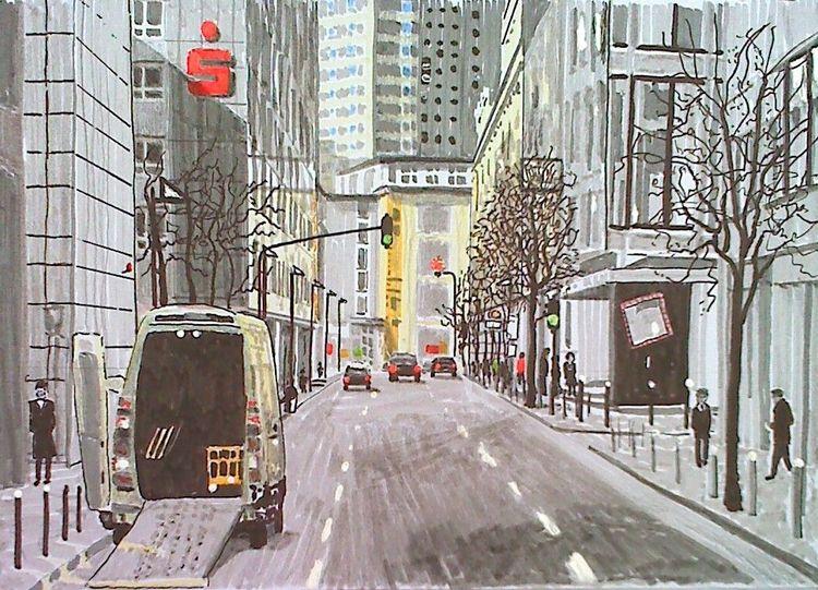 Gebäude, Hochhaus, Innenstadt, Auto, Zeichnungen, Skizzenbuch