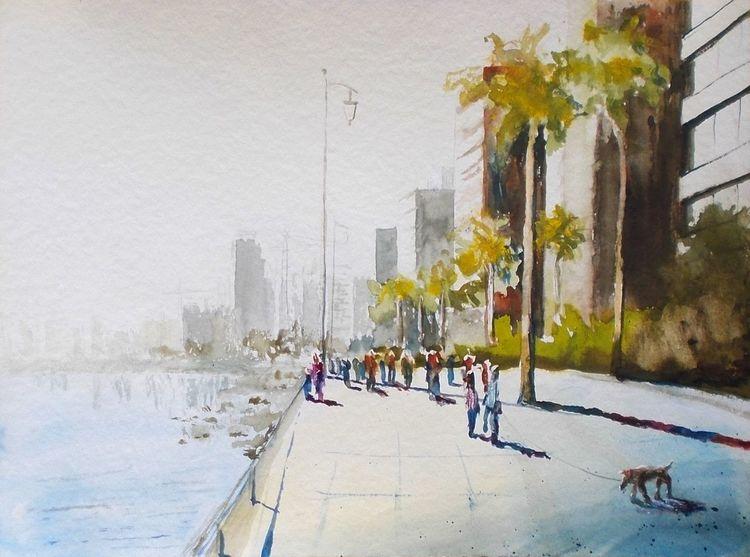 Stadt, Menschen, Beirut, Küste, Aquarell, Malerei