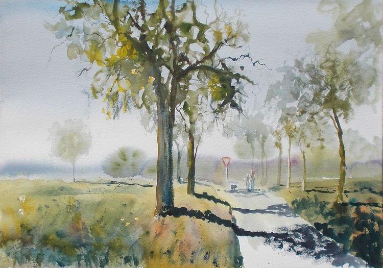 Feld, Marsch, Baum, Straße, Spaziergänger, Aquarell