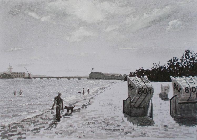Weite, Strand, Himmel, Landschaft, Küste, Zeichnungen