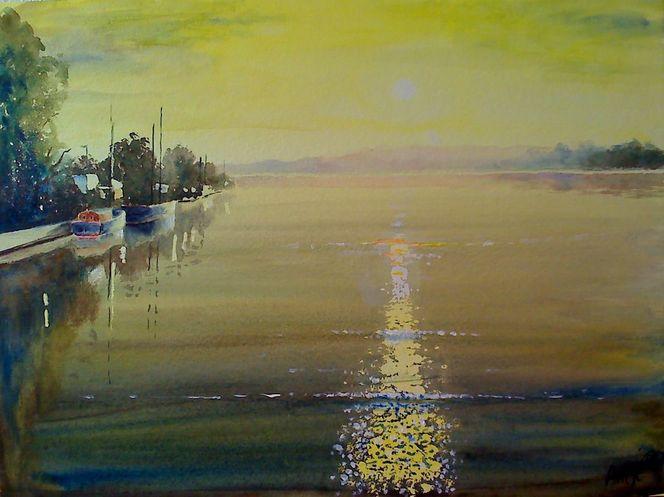 Gewässer, Natur, Sonnenuntergang, Landschaft, Gegenlicht, See