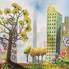 Gartenzwerg, Blumen, Stadt, Baum