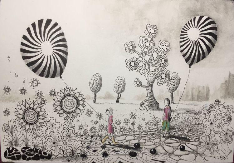 Kinder, Landschaft, Weite, Luftballon, Blumen, Zeichnungen